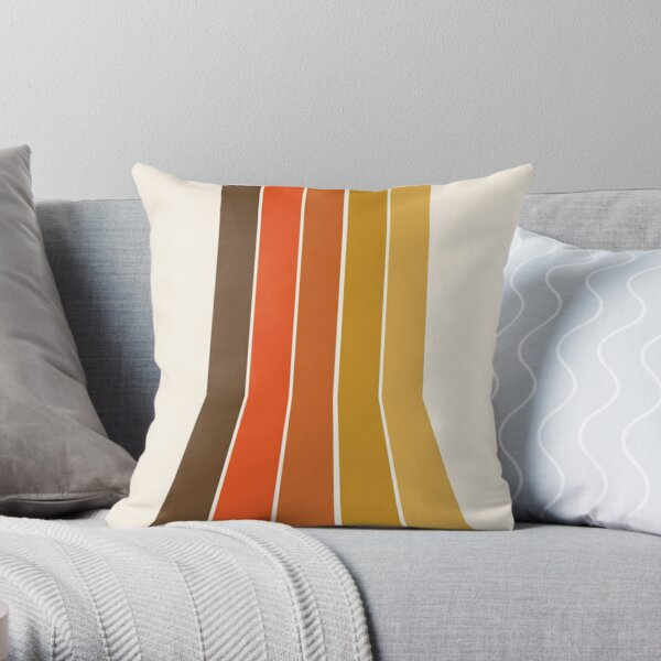Righteous - 70s style throwback rainbow art 1970s minimalist art  Throw Pillow