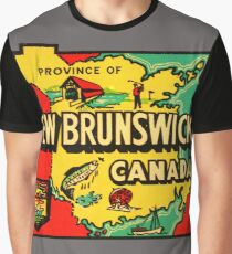 Province of New Brunswick Vintage Travel Decal Graphic T-Shirt