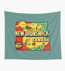 Province of New Brunswick Vintage Travel Decal Wall Tapestry