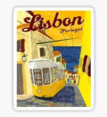 Lisbon, Portugal, yellow tramway, vintage poster Sticker