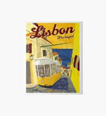 Lisbon, Portugal, yellow tramway, vintage poster Art Board