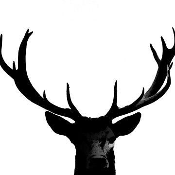 Black Deer Rack Silhouette A273 by byNicol