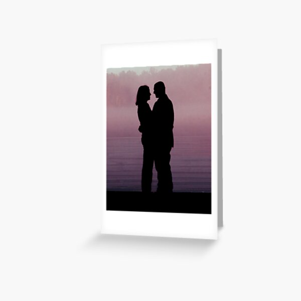 Pink Silhouetted Love Greeting Card