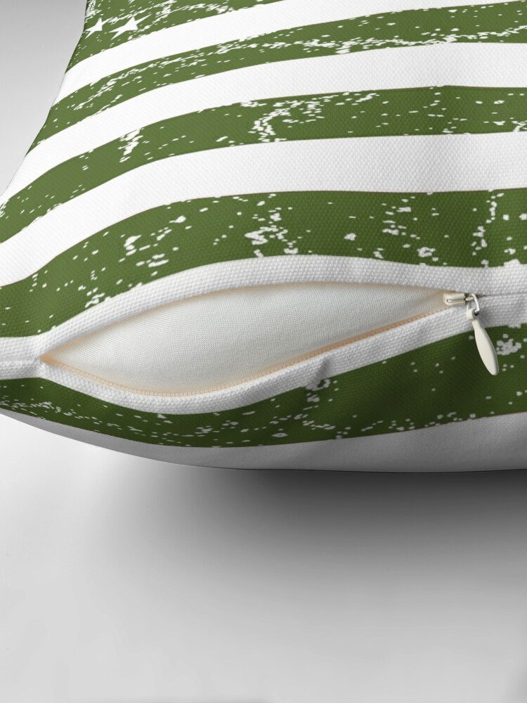 Alternate view of Olive Green American Flag Throw Pillow