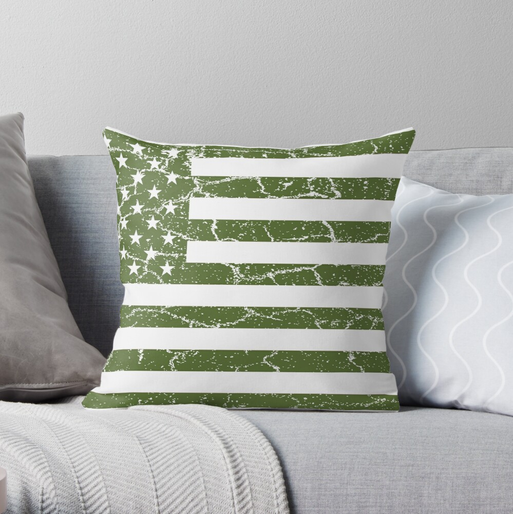 Olive Green American Flag Throw Pillow