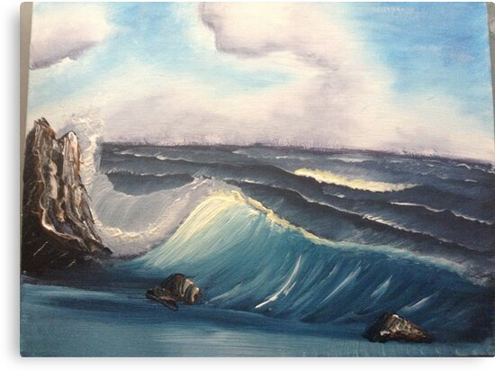 Bob Ross Inspired Oil Painting Seascape Wave Canvas Prints By