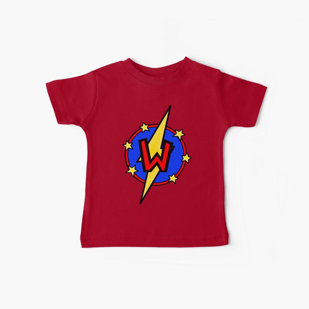 Cute Little SuperHero Geek - Super Letter W Baby T-Shirt