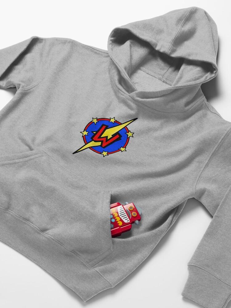 Alternate view of Cute Little SuperHero Geek - Super Letter W Kids Pullover Hoodie