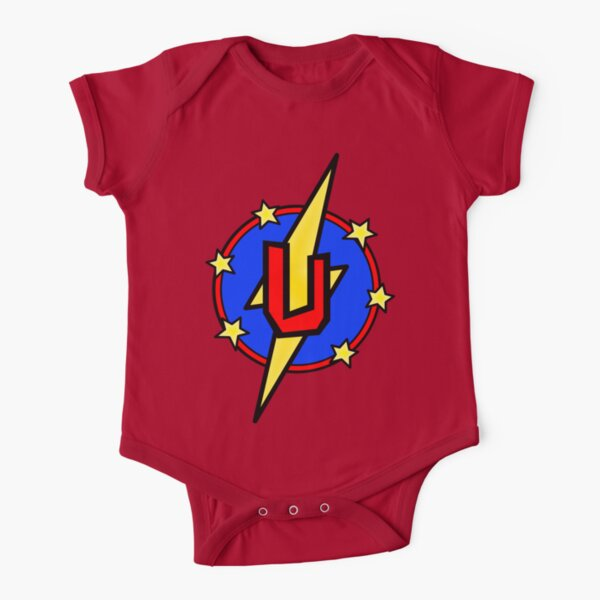Cute Little SuperHero Geek - Super Letter U Short Sleeve Baby One-Piece