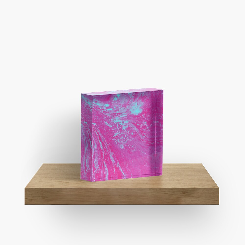 Flood of Pink & Turquoise - An Abstract Piece Acrylic Block
