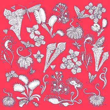 Carnivorous plants red background / Fatal Desire by MissARobi