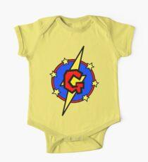 Cute Little SuperHero Geek - Super Letter G One Piece - Short Sleeve