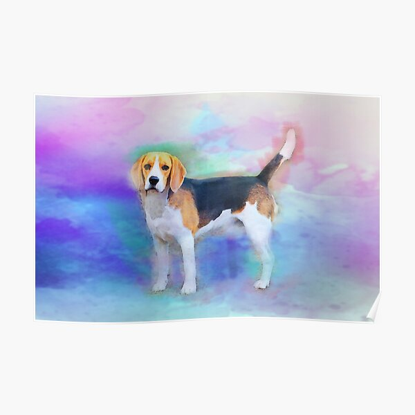 Beagle dog watercolor art painting Poster