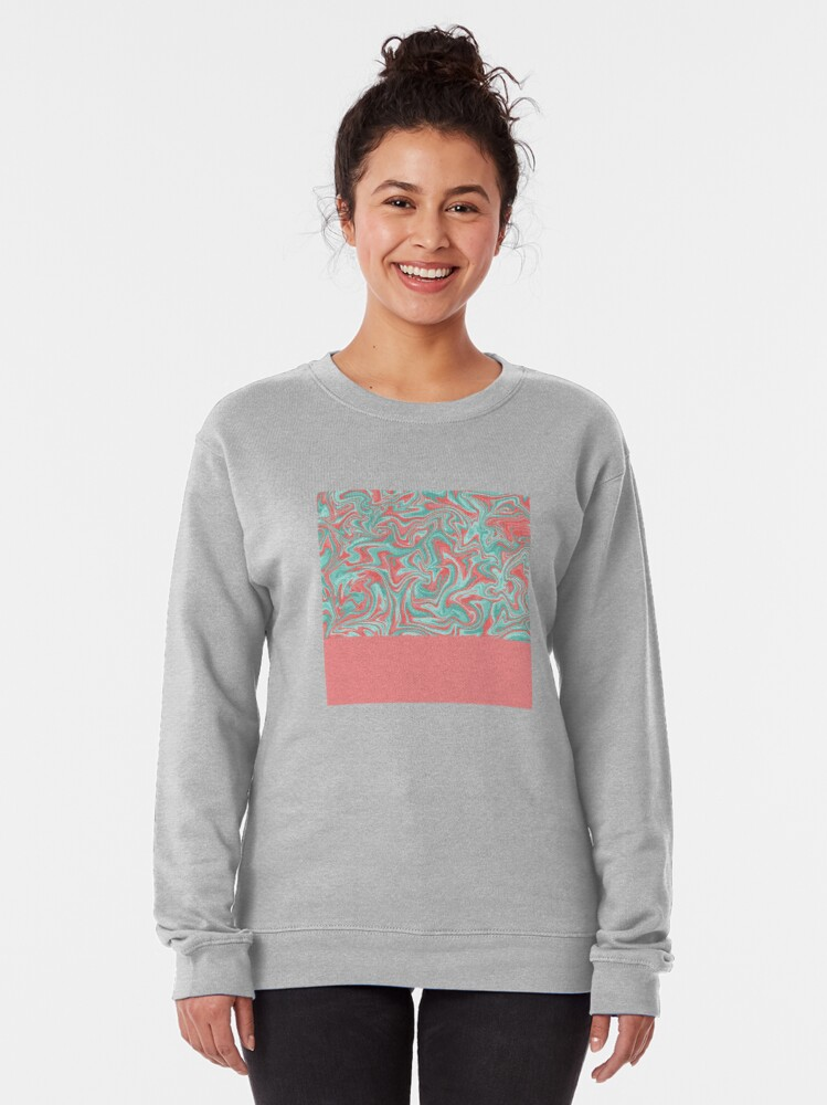 Alternate view of Liquid Swirl - Peach and Green Pullover Sweatshirt