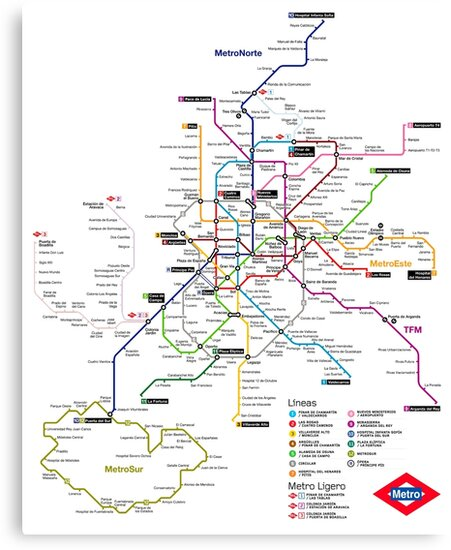 Madrid Metro Map Spain Canvas Prints By Superfunky Redbubble