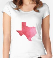 Red Watercolor Texas Women's Fitted Scoop T-Shirt