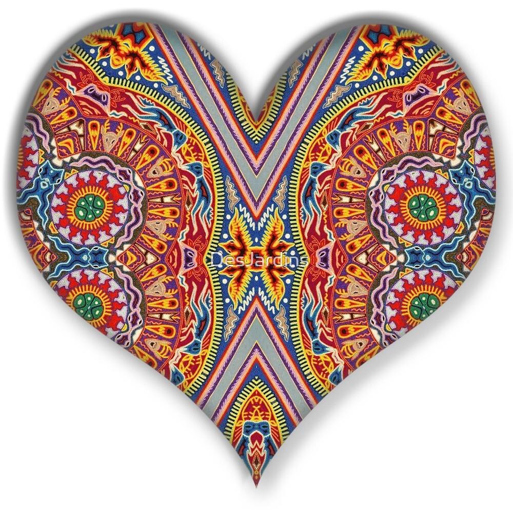 huichol style heart mandala by desjardins redbubble