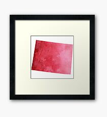 Red Watercolor Wyoming Framed Print