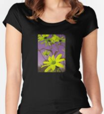 Yellow Flowers with Purple Sky T-Shirt Women's Fitted Scoop T-Shirt