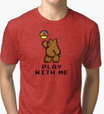 8-Bit Bear - Play with Me Tri-blend T-Shirt