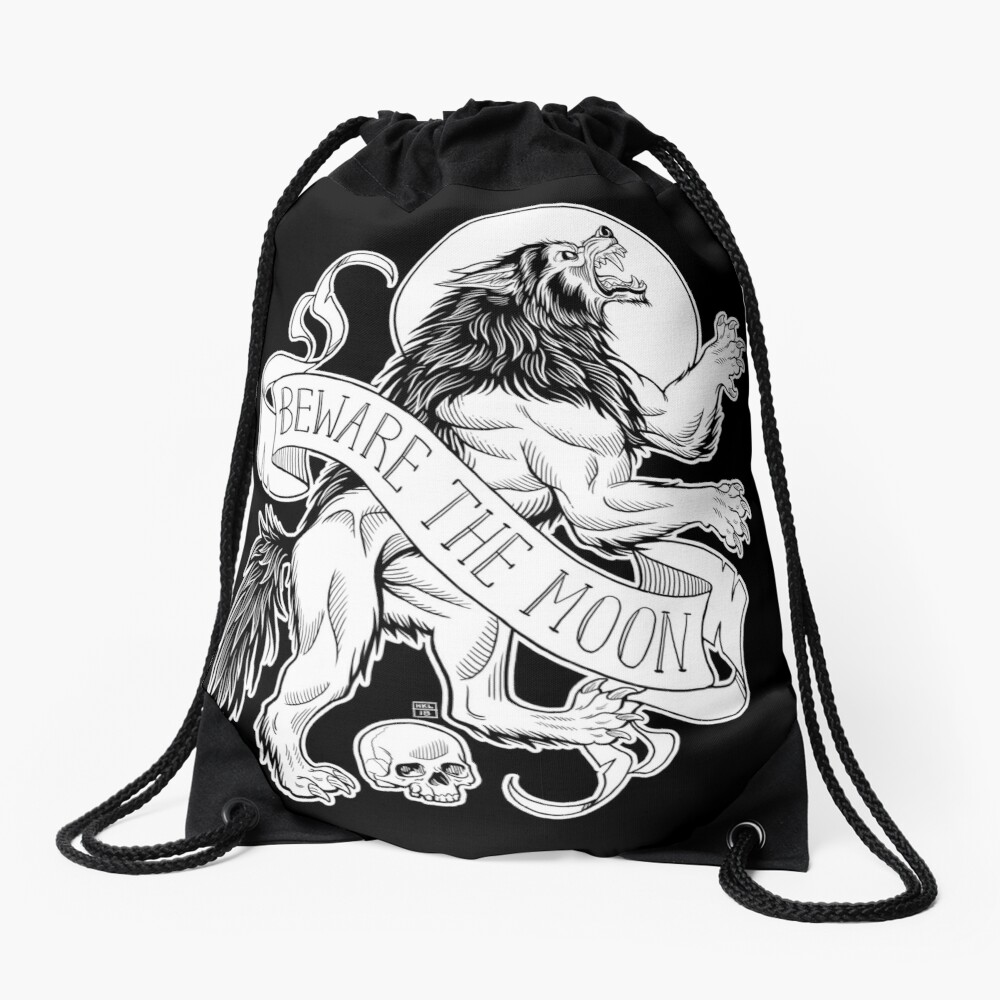 Beware The Moon Drawstring Bag