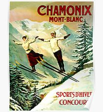 Mont Blanc, France, couple on ski jump, French vintage poster Poster
