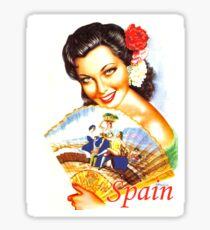 Spain, Spanish woman with fan, vintage travel poster Sticker