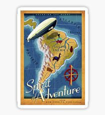 South America, continent, map, zeppelin fly Sticker