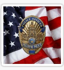 Pasadena Police Department - PPD Officer Badge over American Flag Sticker