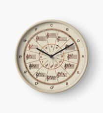 Music's Circle of 5ths Wood Wheel Clock