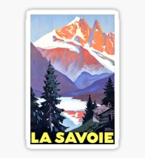 Savoie mountains, France, vintage travel poster Sticker