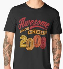 Awesome Since October 2008 Shirt Vintage 10th Birthday Men's Premium T-Shirt