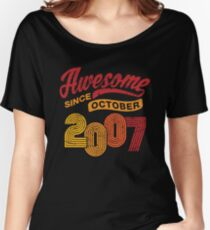 Awesome Since October 2007 Shirt Vintage 11th Birthday Women's Relaxed Fit T-Shirt