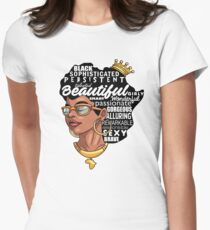African Woman Melanin Natural Hair Pride  Women's Fitted T-Shirt
