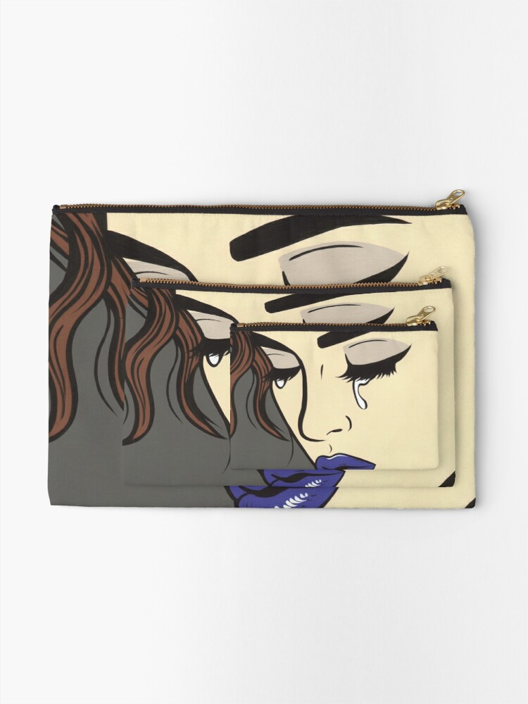 Alternate view of Brunette Crying Comic Girl Zipper Pouch