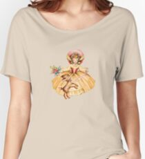 vintage girl with fawn Women's Relaxed Fit T-Shirt