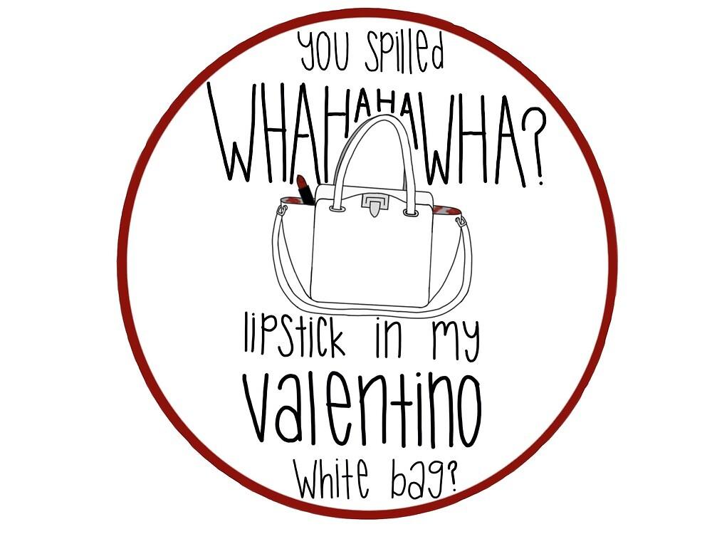 ab476d0fd757 WHAHHAHAWAHHA lipstick in my valentino white bag  (vine)
