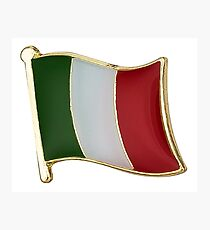 Italian Flag With Gold Trim - Multiple and single Flags Photographic Print