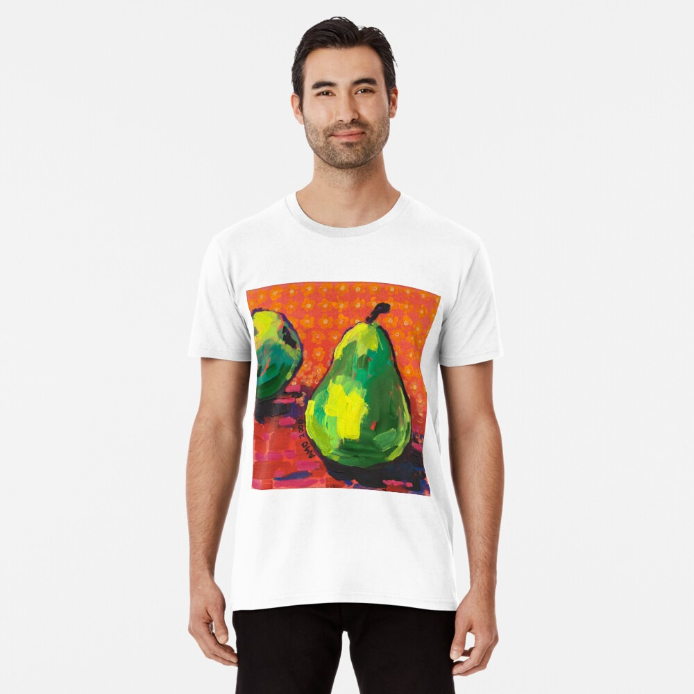 Green Pears Orange Background Premium T-Shirt