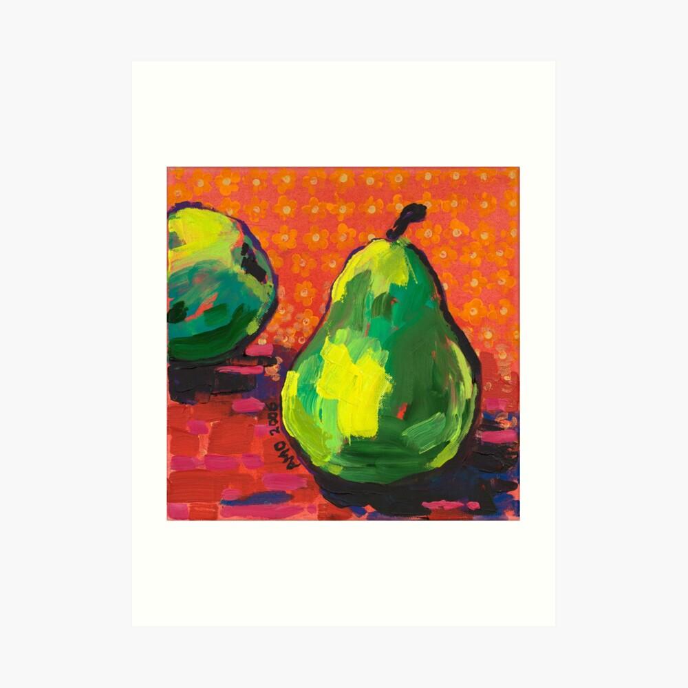 Green Pears Orange Background Art Print