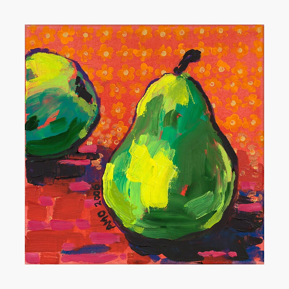 Green Pears Orange Background Photographic Print