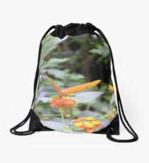 Pretty orange butterfly Drawstring Bag