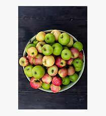 bowl of mixed apples Photographic Print