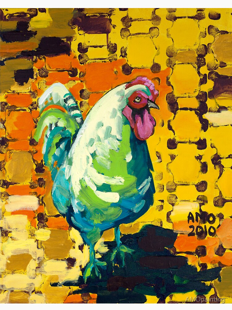 Rooster with stamp by AMOpainting