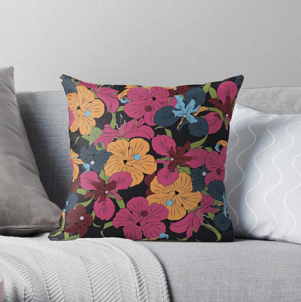 Dark Floral v2 Throw Pillow