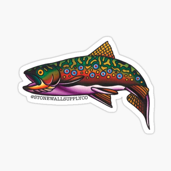 SSC Brook Trout Tattoo Flash  Sticker