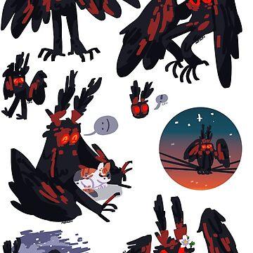 mothman stickers (remake) by vongacy