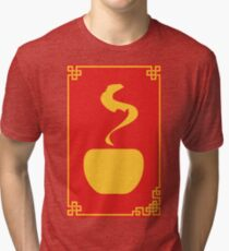 Happy Chinese New Year: Golden Chinese Tea Cup Tri-blend T-Shirt