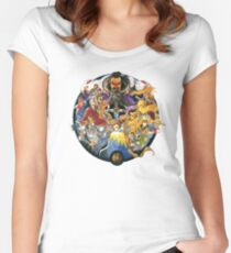 Suikoden Scarlet Moon Empire Cover Design (No Text) Women's Fitted Scoop T-Shirt