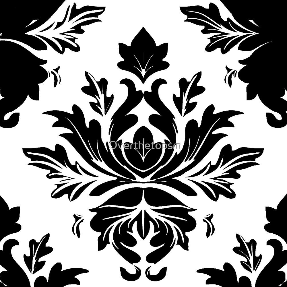 White and Black Damask Vintage Pattern  by Saundra Myles